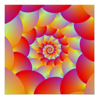 Ball Spiral in Red Yellow and Orange Poster