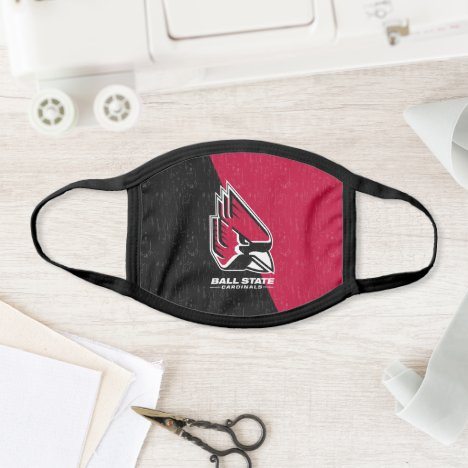 Ball State University Color Block Distressed Face Mask