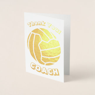 Ball Theme Netball Coach Thank You Gold Foil Card