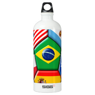 ball with flags aluminum water bottle