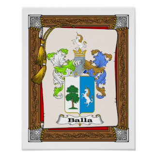 Balla3 family coat of arms on presentation scroll poster