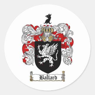 BALLARD FAMILY CREST -  BALLARD COAT OF ARMS CLASSIC ROUND STICKER