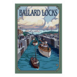 Ballard Locks - Seattle, WA Vintage Travel Poster