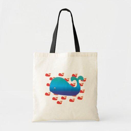 Ballena azul bolsa tela barata