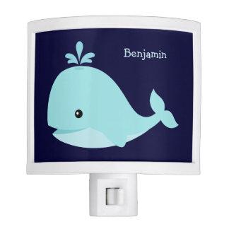Ballena azul clara linda personalizada lámparas de noche