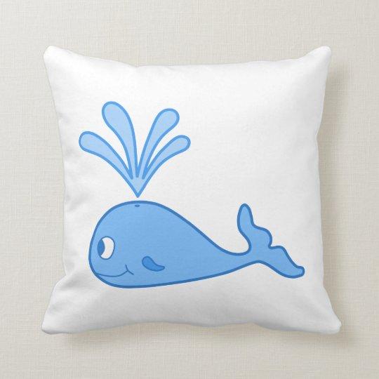 Ballena, azul cojín decorativo