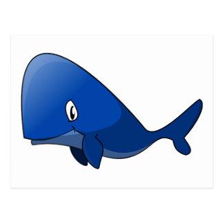 Ballena azul del dibujo animado postal