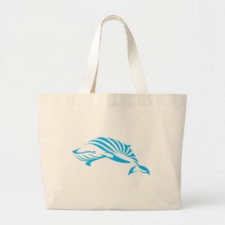 Ballena azul en estilo del dibujo del chasquido bolsa tela grande
