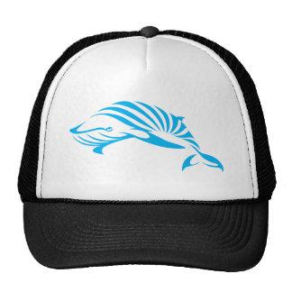 Ballena azul en estilo del dibujo del chasquido gorros bordados