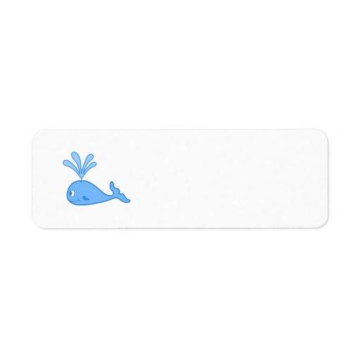 Ballena, azul etiquetas de remite