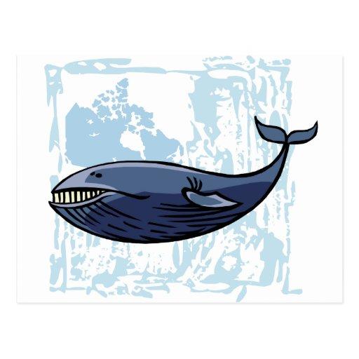 Ballena azul feliz postal