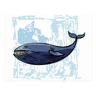 Ballena azul feliz postales
