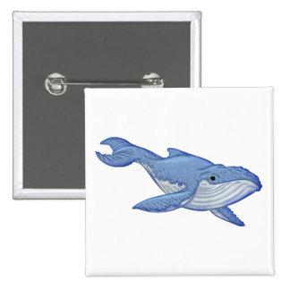 Ballena azul juguetona pin cuadrada 5 cm