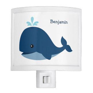 Ballena azul linda personalizada lámparas de noche
