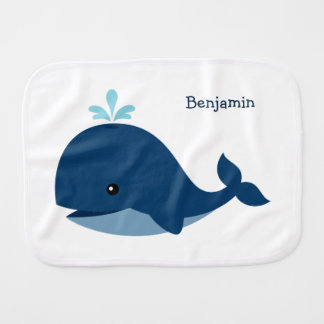 Ballena azul linda personalizada paños de bebé