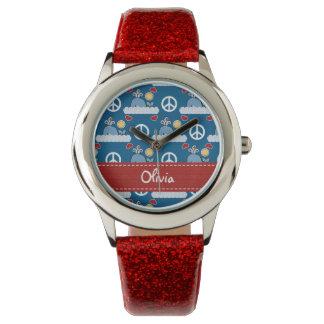Ballena azul personalizada del amor de la paz reloj