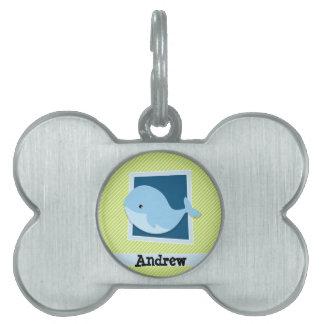 Ballena azul; Rayas de la verde lima y del blanco Placa Mascota