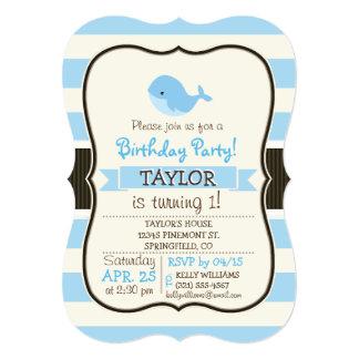 """Ballena de azules cielos linda; Rayas Invitación 5"""" X 7"""""""