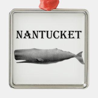Ballena de esperma de Nantucket Adorno Navideño Cuadrado De Metal