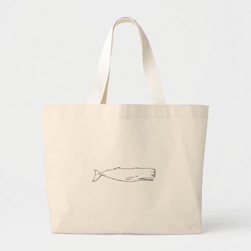 Ballena de esperma (línea arte) bolsas lienzo
