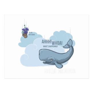 Ballena de esperma y cuenco de petunias tarjeta postal
