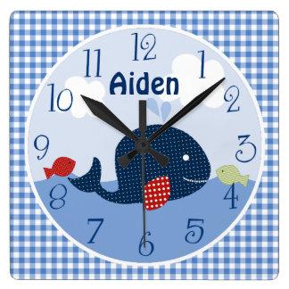 Ballena de Jackson/pescados/reloj personalizados Reloj Cuadrado