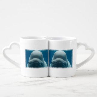 Ballena de la beluga tazas amorosas