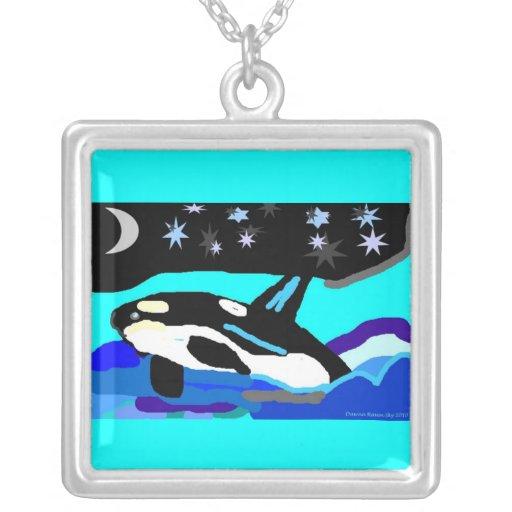 Ballena de la orca de la estrella de Nightime Pendientes Personalizados