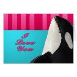 Ballena de la orca de la tarjeta del día de San Va