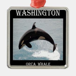 Ballena de la orca de Washington Adorno Navideño Cuadrado De Metal