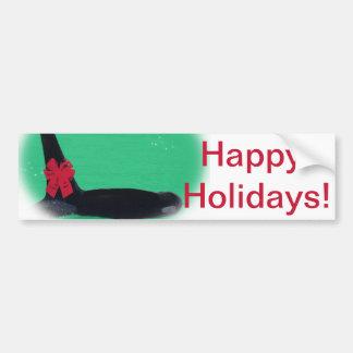 Ballena de la orca del navidad con el arco rojo en pegatina de parachoque