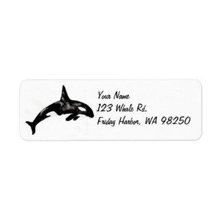 Ballena de la orca etiqueta de remite