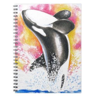 Ballena de la orca libros de apuntes con espiral