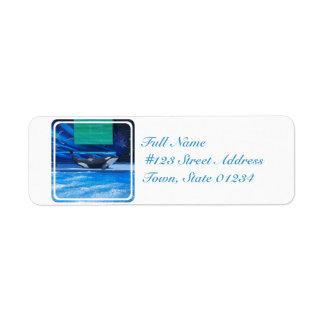 Ballena de la orca que muestra apagado etiquetas de remite