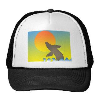 ballena de la puesta del sol gorras