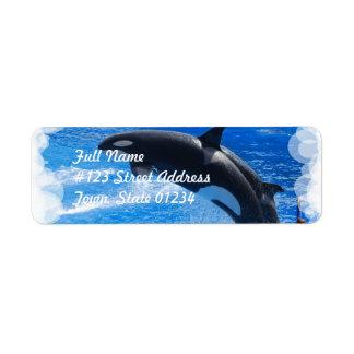 Ballena de salto de la orca etiquetas de remite