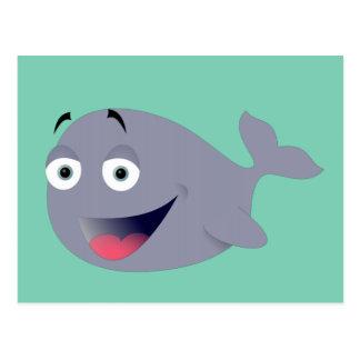 Ballena del dibujo animado, mamífero del mar postales