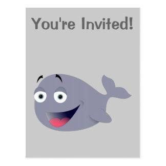 Ballena del dibujo animado, mamífero del mar tarjeta postal