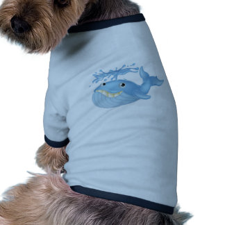 Ballena del dibujo animado camiseta con mangas para perro