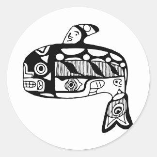 Ballena del Tlingit del nativo americano Pegatina Redonda