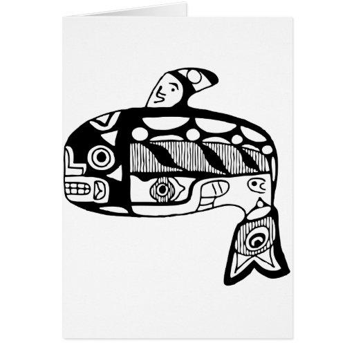 Ballena del Tlingit del nativo americano Tarjeta De Felicitación