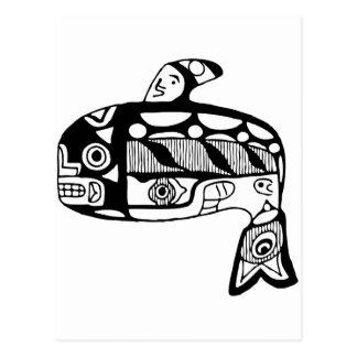 Ballena del Tlingit del nativo americano Tarjetas Postales