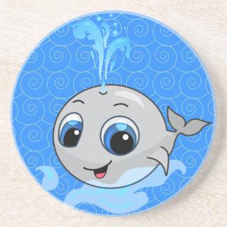 Ballena divertida linda sonriente del bebé posavasos manualidades