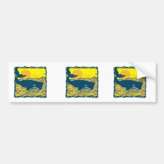 ballena en el diseño de la puesta del sol pegatina para auto