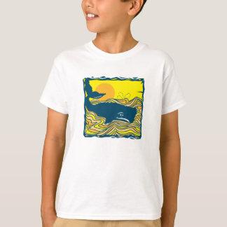 ballena en el diseño de la puesta del sol playeras