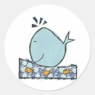 Ballena feliz grande pegatina redonda