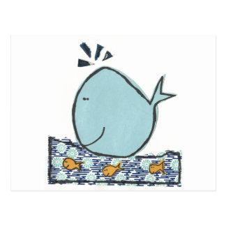 Ballena feliz grande tarjeta postal