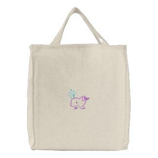 Ballena feliz púrpura bordada linda bolsa bordada