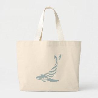 Ballena jorobada en estilo del dibujo del bolsa tela grande