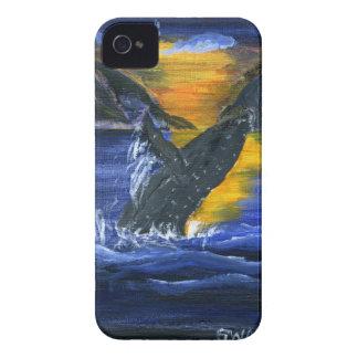 Ballena jorobada en la puesta del sol iPhone 4 carcasas